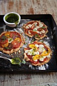 Gluten free pizza with tomatoes and cheese