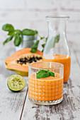 Papaya and basil smoothie