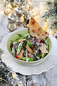 Herring salad with spring onions for Christmas