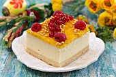 A slice of fruit cheesecake for Easter
