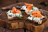 Toast with cream cheese and smoked salmon
