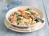 Salmon and courgette risotto