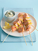 Salmon and lemon skewers