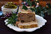 A festive goose liver terrine with mushrooms