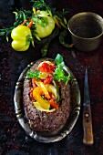 Meatloaf with cheese and peppers