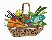 A basket of fresh vegetables (illustration)