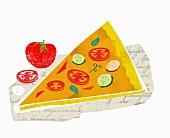 Ein Stück Gemüsepizza(Illustration)