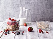Mixed muesli with berries in a jar