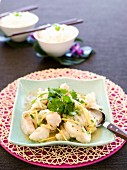 Fisch mit Ingwer und Koriander aus dem Wok