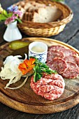 A cold cuts platter at Klausenhof, Werratal, Thuringia, Germany