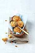 Marzipan pastries with pine nuts