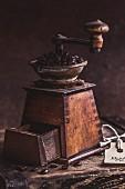 A vintage coffee grinder