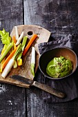 Julienned vegetables with a herb and cashew nut dip