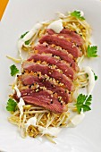 Duck breast with roasted bean sprouts