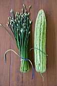 Garlic chives and a Chinese bitter gourd