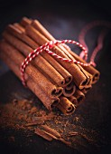 Cinnamon sticks tied in a bunch