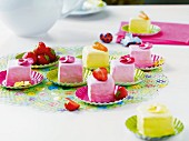 Pink and yellow petit fours for Easter