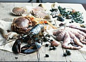 Various types of seafood on a wooden table