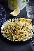 Spaghetti with lemon and walnut pesto