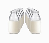 Two rows of milk bottles