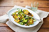 Vegan marinated courgette slices with tofu, aubergines and green tomatoes