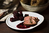Saddle of lamb with beetroot