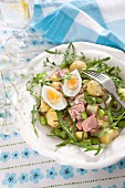 Tuna fish salad with eggs, potatoes and soya beans