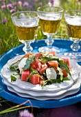 Summer salad with watermelon, mozzarella and rocket
