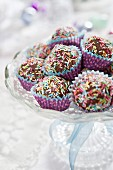 Homemade Christmas sweets with colourful sugar sprinkles