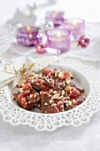 Homemade Christmas sweets made with chocolate and nuts