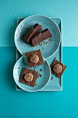 Chocolate terrine and flaxseed slices with almond and chocolate ricotta