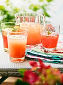 Glasses of fresh, homemade fruit juice with ice