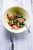 Pad Tua Fak Yao Sai Gung (prawns with Thai beans)