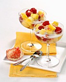 Fruit salad in champagne goblets
