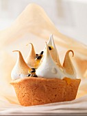 A mini cake topped with meringue and passion fruit sauce
