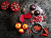 An arrangement of red super foods