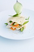 Monkfish lasagne with spring vegetables and spinach foam