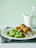 Chicken Satays with Cucumber Salad and Rice