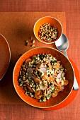 Lentil salad with pine nuts