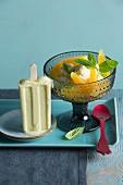Mango ice cream and orange cream