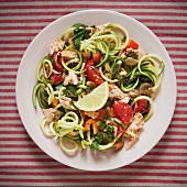 Courgette pasta with salmon