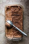 Punnet of chocolate ice cream