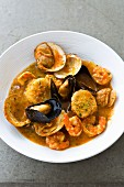 Mussel stew with prawns (Spain)