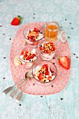 Strawberry and yogurt desserts with honey