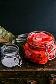 Pickled radish in a preserving jar