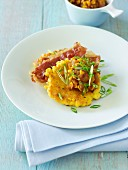 Corn Cakes with Corn & Tomato Chutney