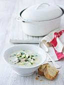 Fischsuppe mit Fenchel in Suppenschale und Weissbrot