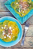 Salad with yellow beets, manouri and nuts (Crete, Greece)