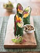 Handmade chard rolls with rice and avocado