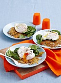 Potato cakes with egg & spinanch